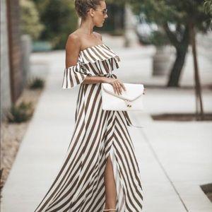 Vici ECLIPSE STRIPE Wrap Maxi Dress TAUPE Small S